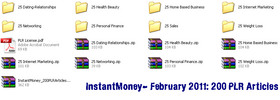Instant Money 200 PLR Articles - February 2011 (new)